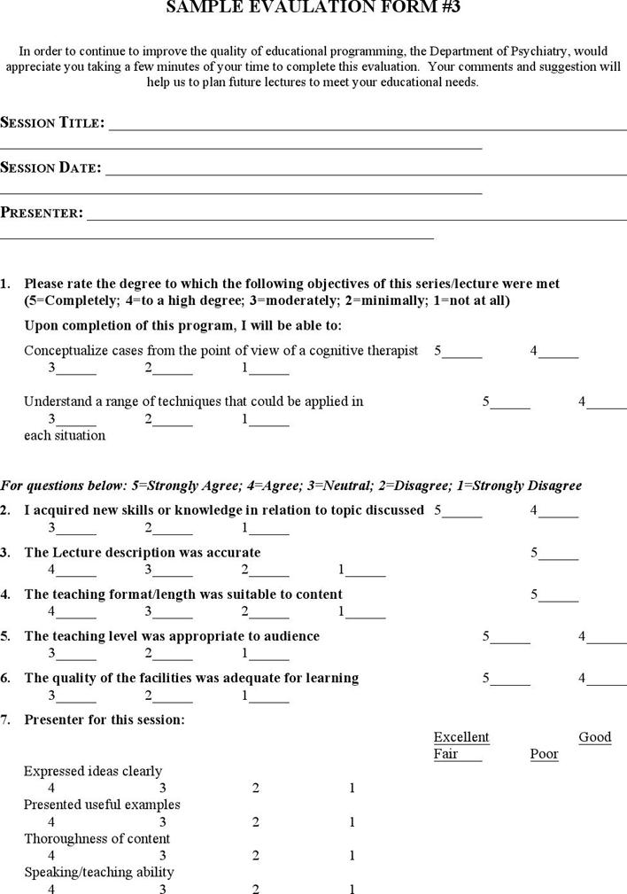 Free Sample Program Evaluation Form - doc | 59KB | 7 Page(s) | Page 6