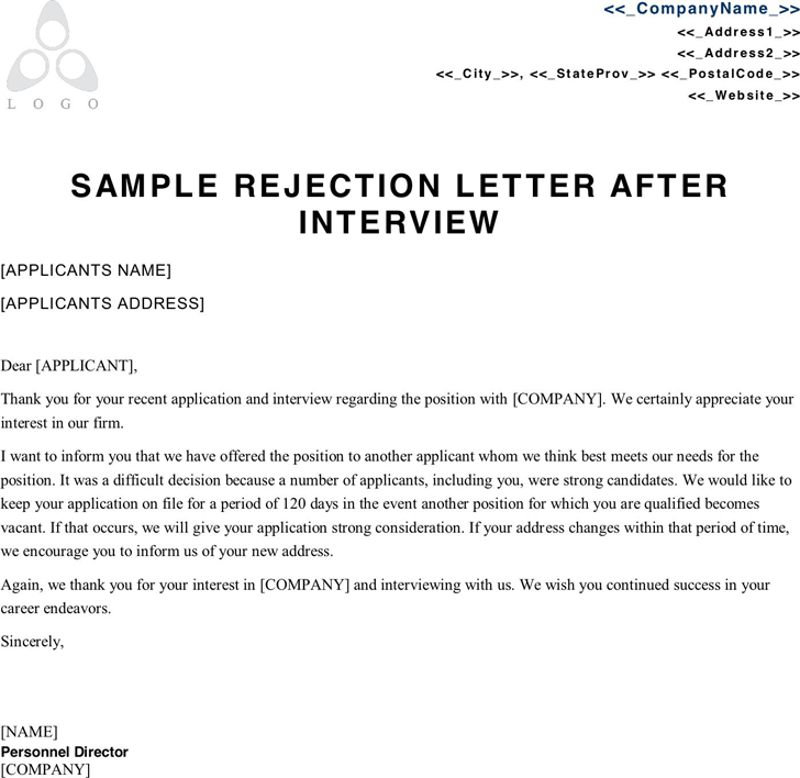 Free sample rejection letter after interview pdf 27kb 1 pages spiritdancerdesigns