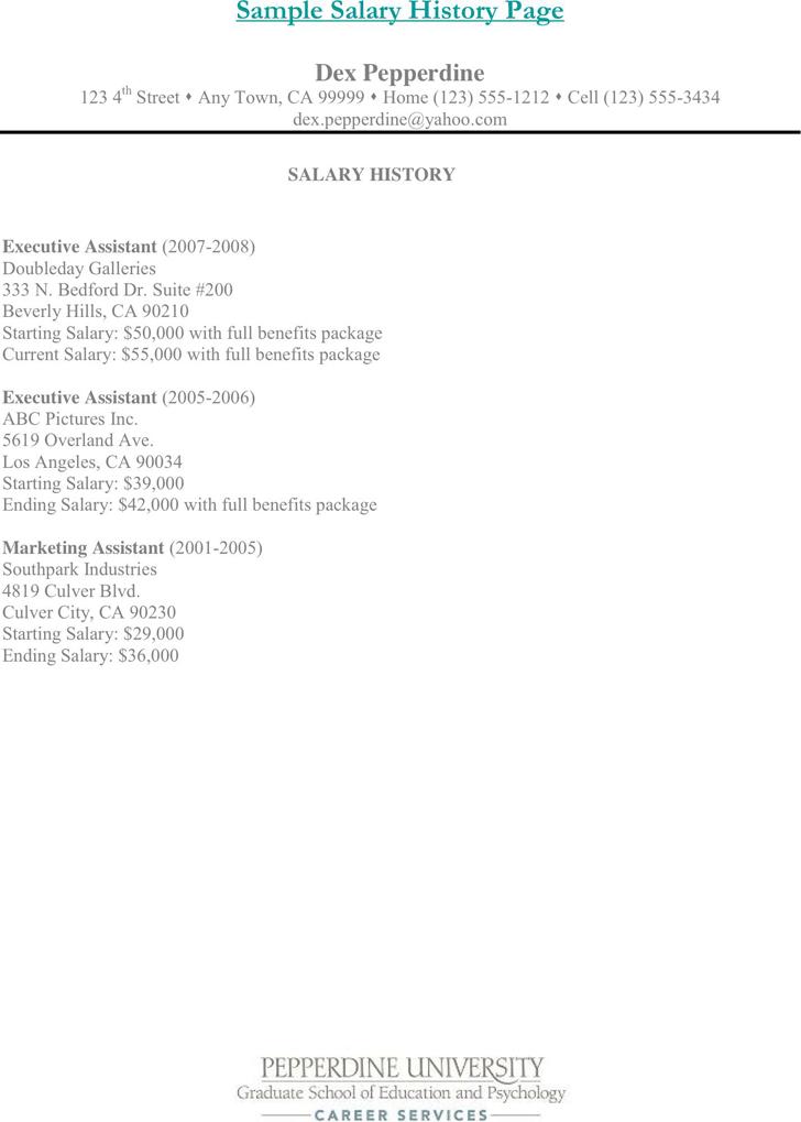 sample of salary history