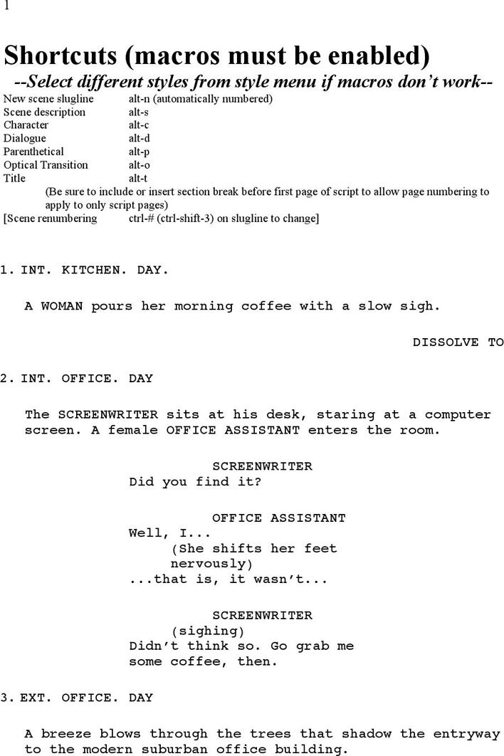 Free Screenplay Template