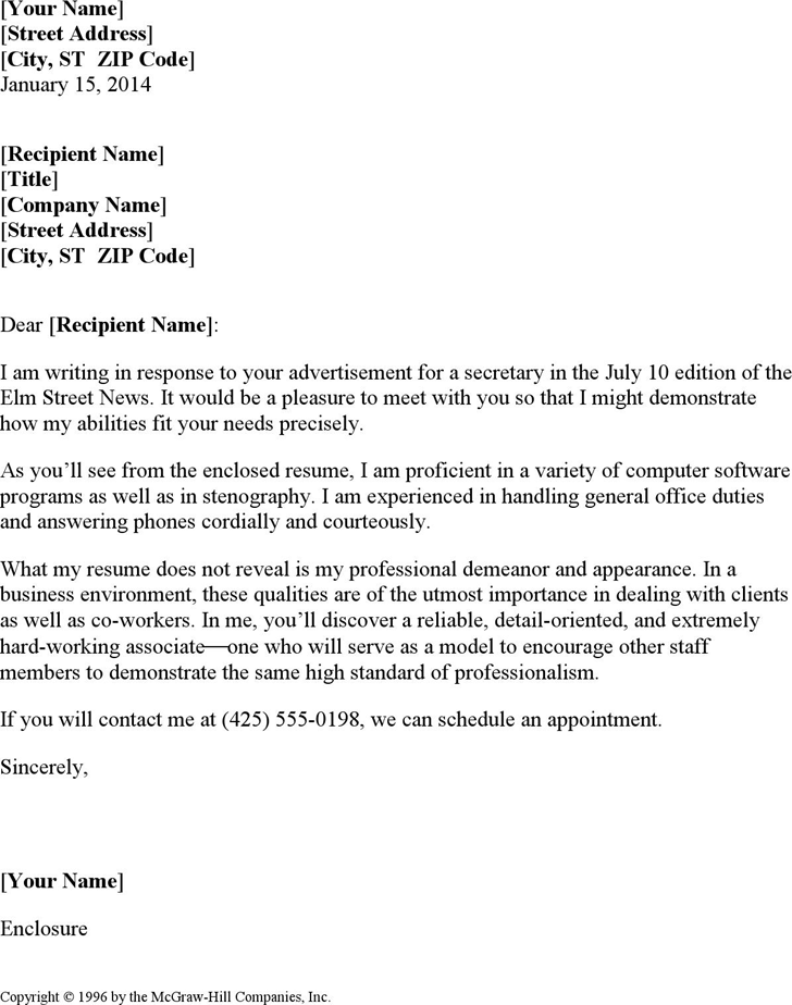 free secretary resume cover letter