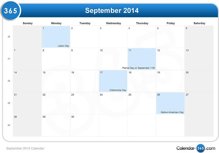 Best September 2014 Calendar Template Photos September 2014