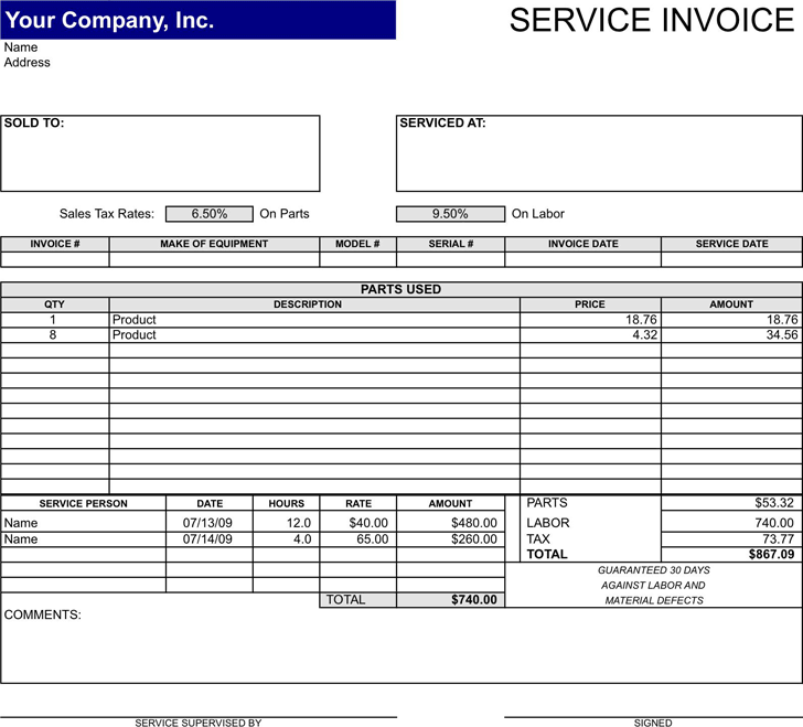 Service Invoice Template Template Free Download Speedy