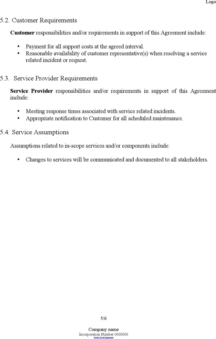 Free Service Level Agreement Template Doc 74kb 6 Page S