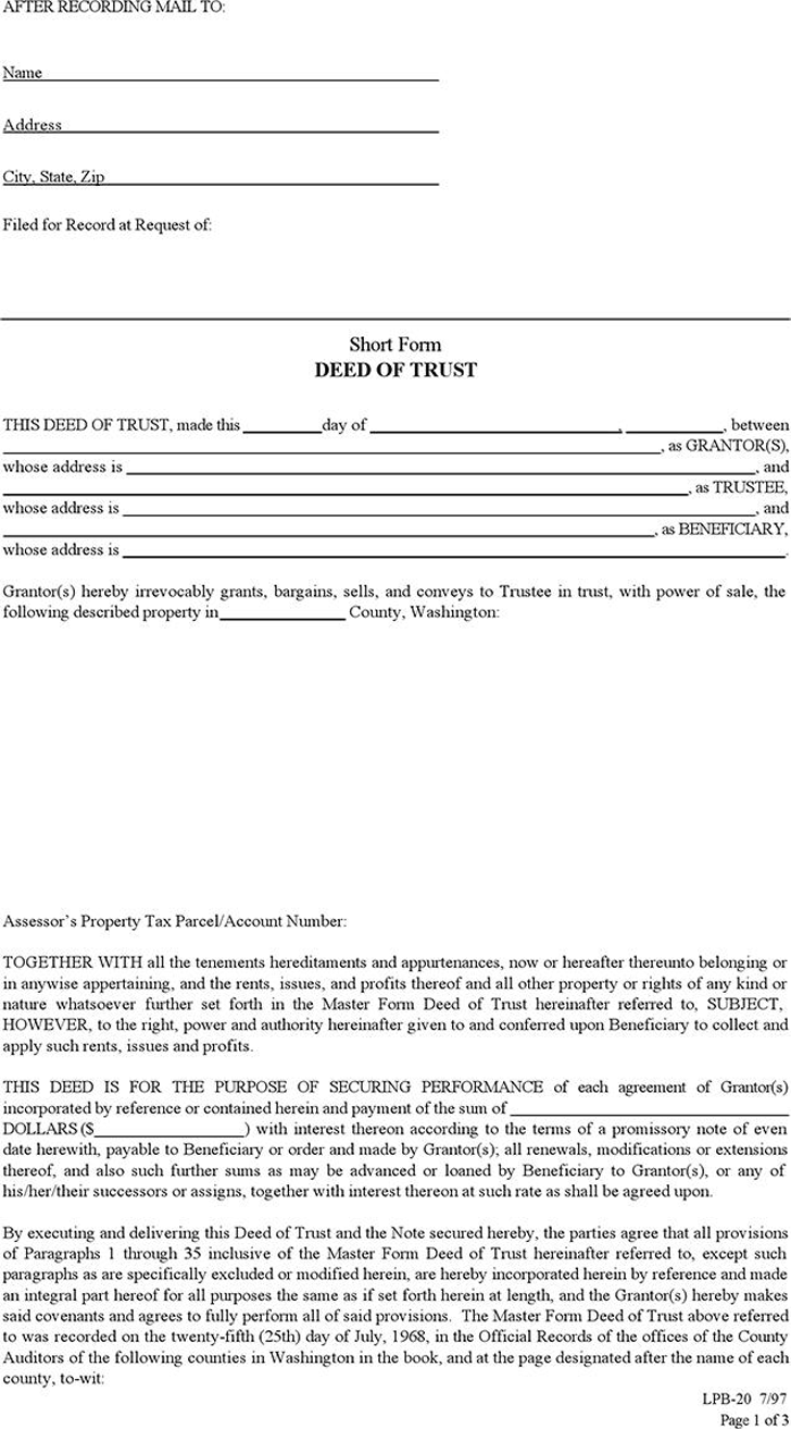 deed of trust template free template download customize and print