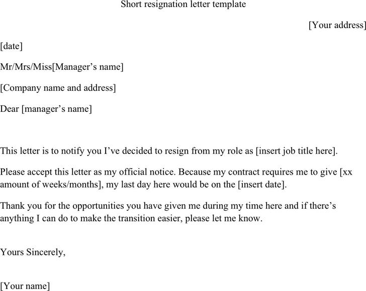 Free Short Resignation Letter Template docx 14KB – Templates Resignation Letter
