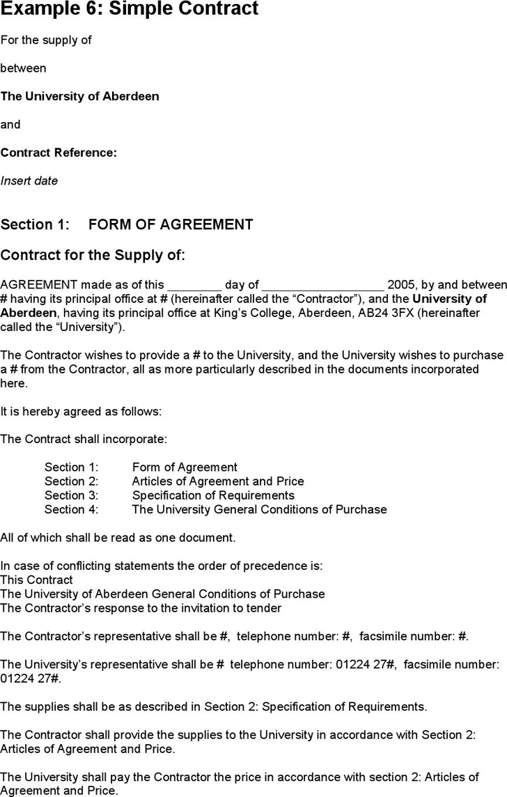 examples of contracts between two businesses