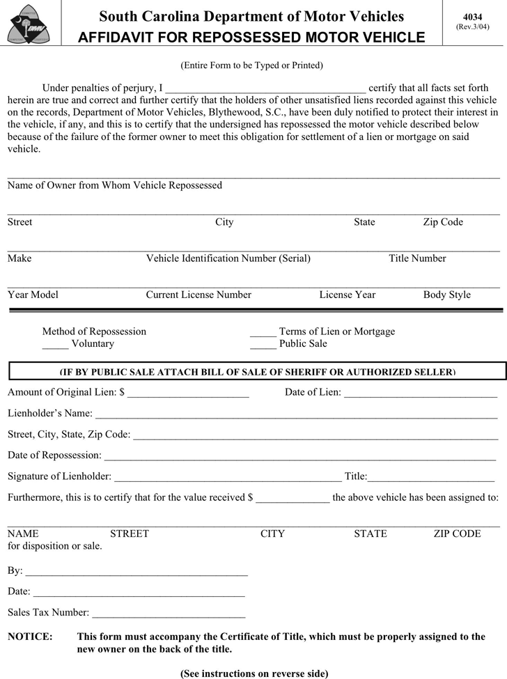 Affidavit template free template download customize and for South carolina department of motor vehicles bill of sale
