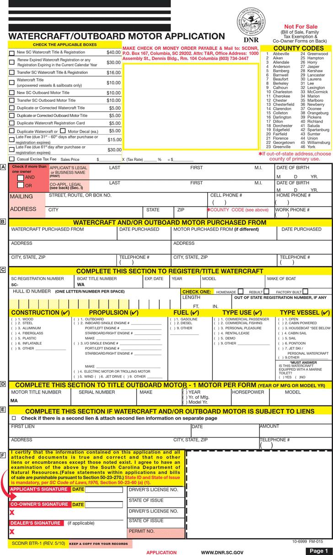 free south carolina boat bill of sale pdf 252kb 2 page s