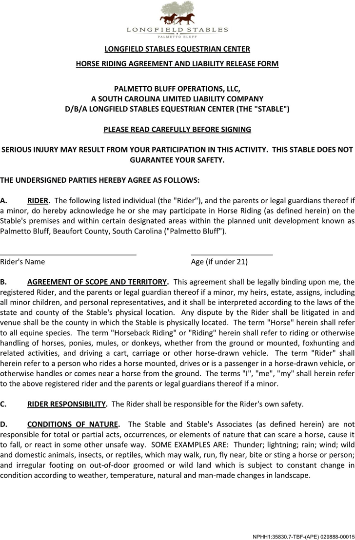 Free South Carolina Horse Riding Agreement And Liability Release ...