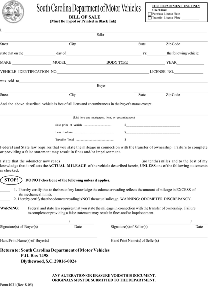 free south carolina motor vehicle bill of sale form pdf