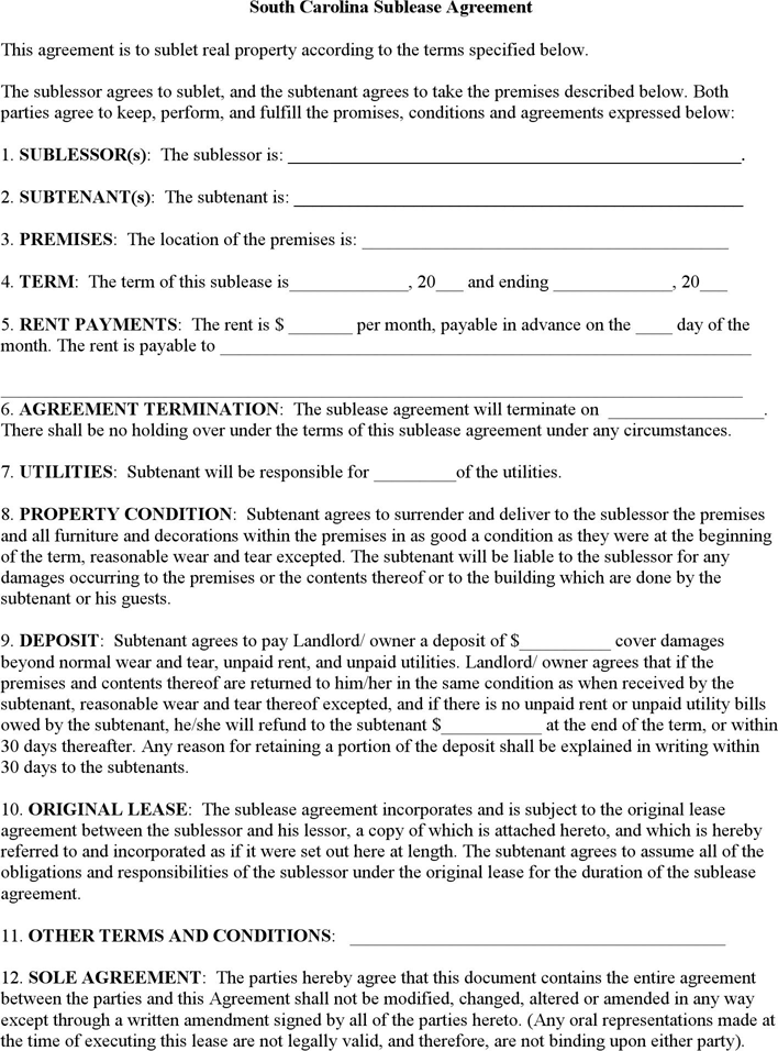 South Carolina Sublease Agreement Form