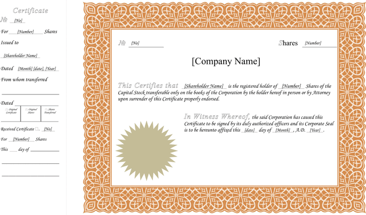 Stock Certificate Template Template Free Download Speedy Template