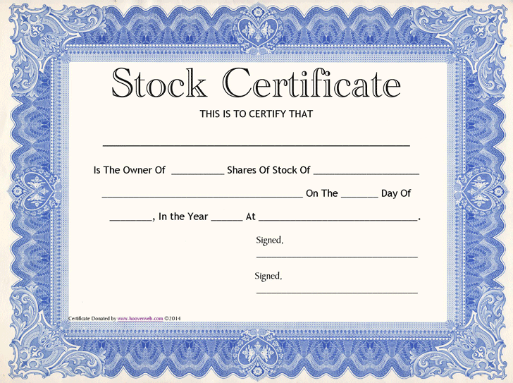 Stock Certificate Template 3