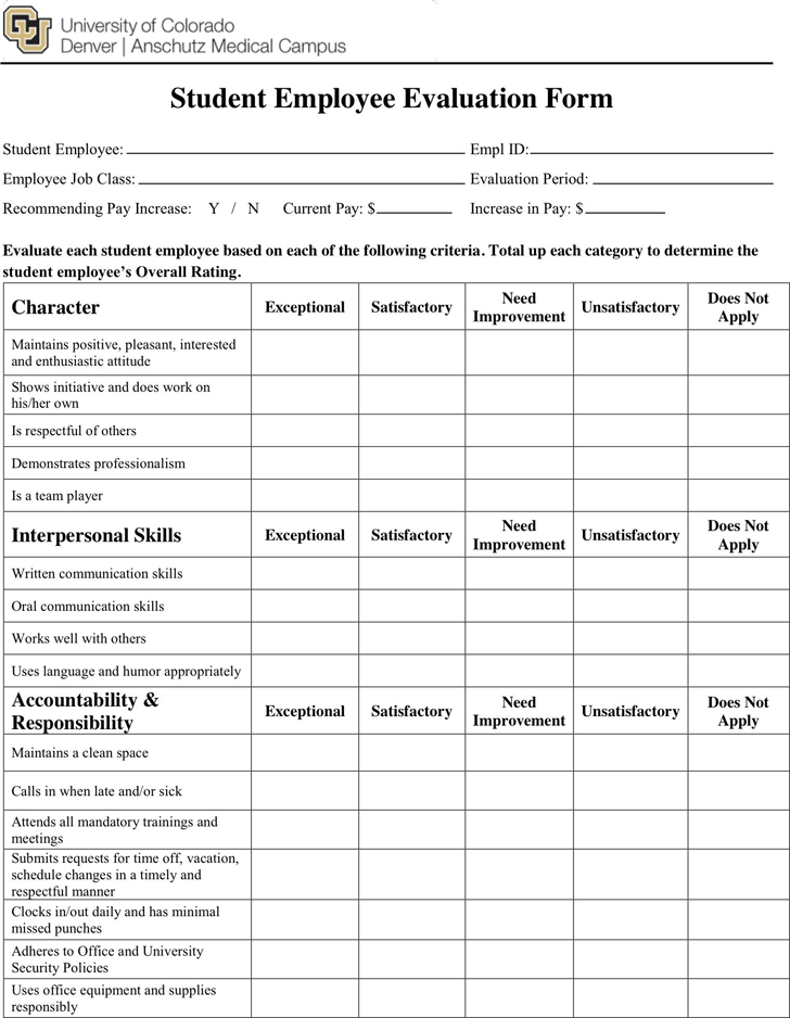 Student Evaluation Template - Free Template Download,Customize and Print