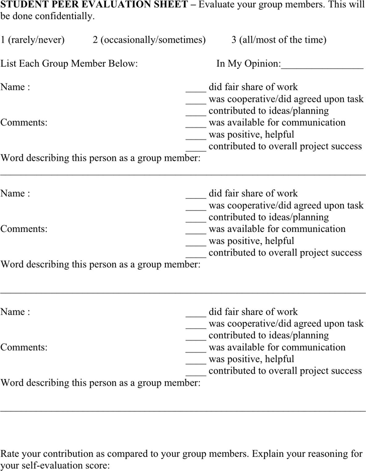 Student Evaluation Template - Free Template Download