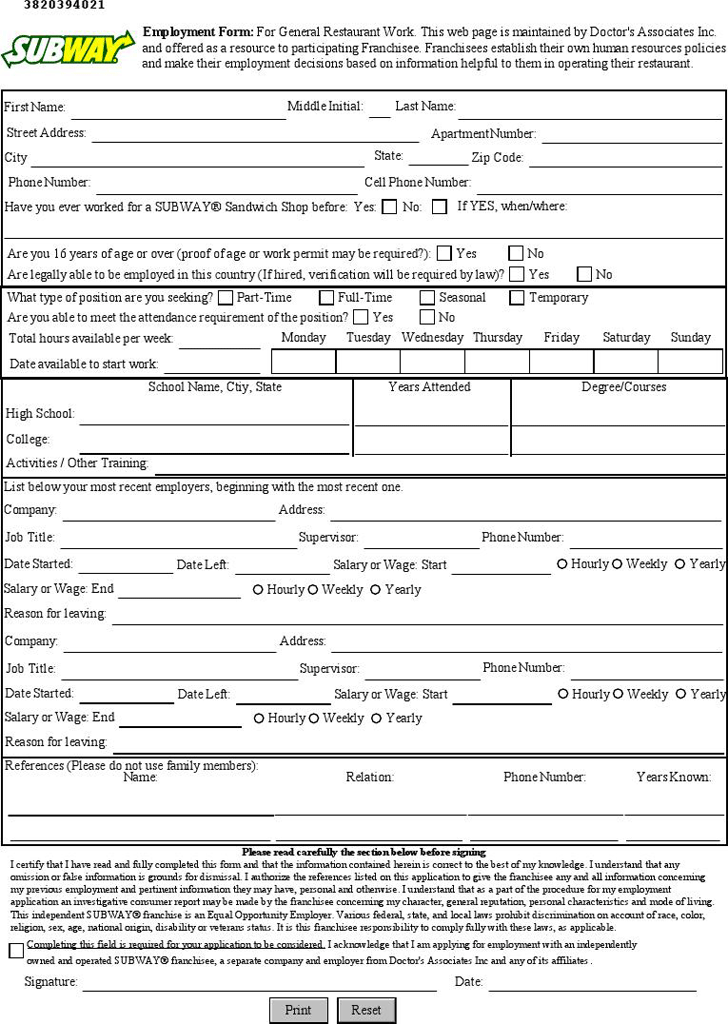 subway-employment-application-1 One Page Job Application Forms To Print on