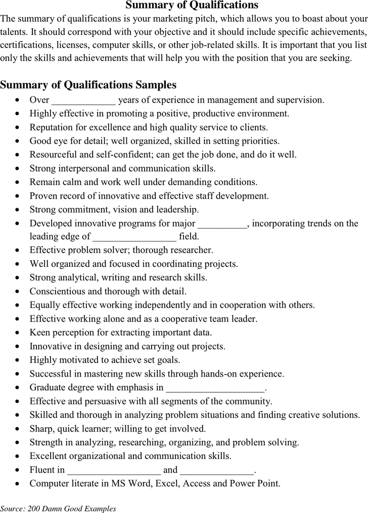 free summary of qualifications example