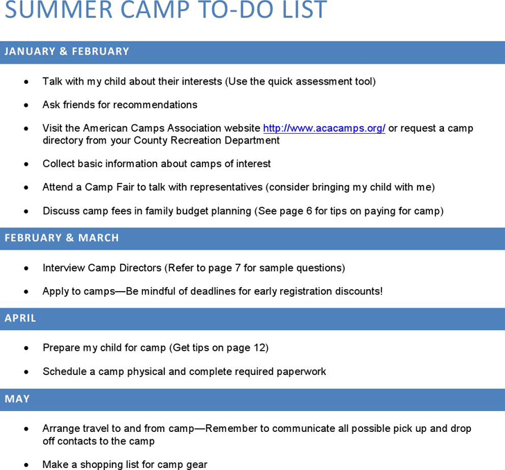 Free Summer Camp To Do List Pdf 60kb 1 Pages