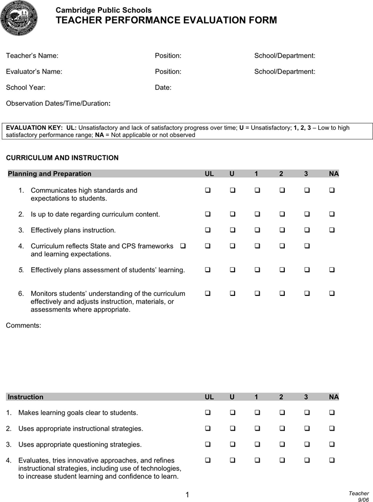 Teacher Evaluation Form | Free Teacher Evaluation Form Pdf 33kb 4 Page S