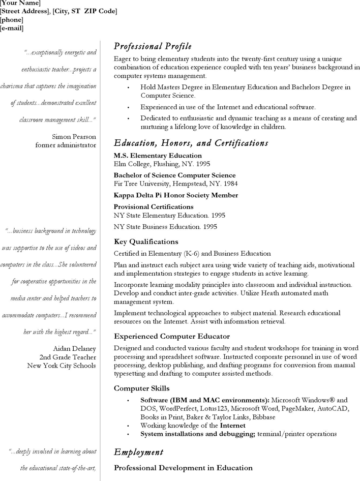 Teacher resume - CV
