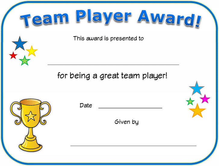 Free Team Player Certificate Pdf 516kb 1 Page S