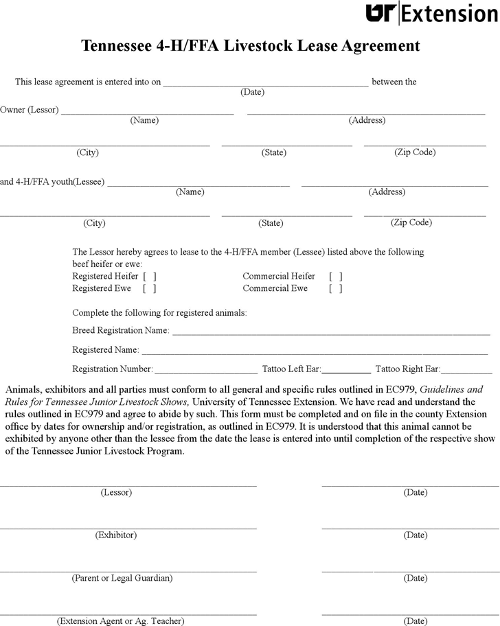 Tennessee 4-H/FFA Livestock Lease Agreement Form