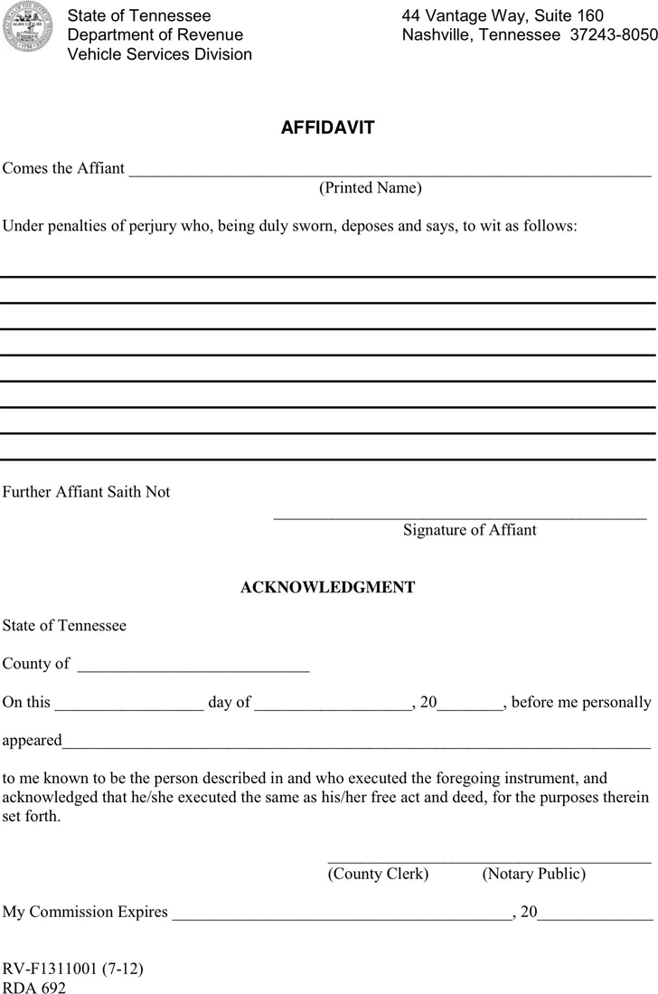Free General Affidavit Form Download No Objection Letter From Tennessee Affidavit  Form Free General Affidavit Form Downloadhtml Free Affidavit Template  General Affidavit Sample
