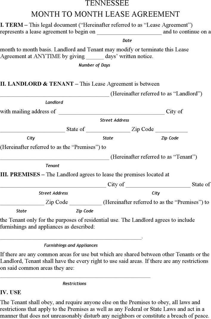 Free Tennessee Month To Month Rental Agreement Pdf 191kb 7 Pages