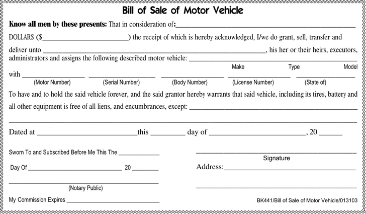 free motor vehicle bill of sale