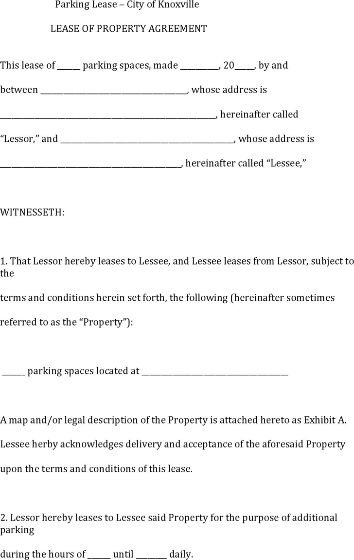 Tennessee Parking Lease Form