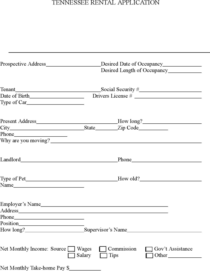 Tennessee Rental Application Form