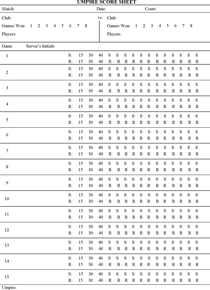 Tennis Score Sheet Template Free Download – Bowling Score Sheet Template