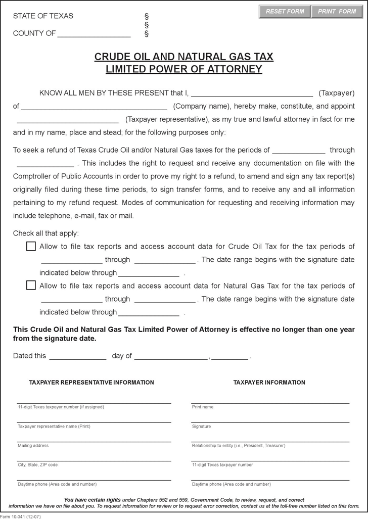Texas Crude Oil and Natural Gas Tax Limited Power of Attorney Form