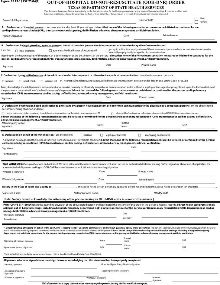 Dnr Medical Form   Free Texas Do Not Resuscitate Form Pdf 560kb 2 Page S