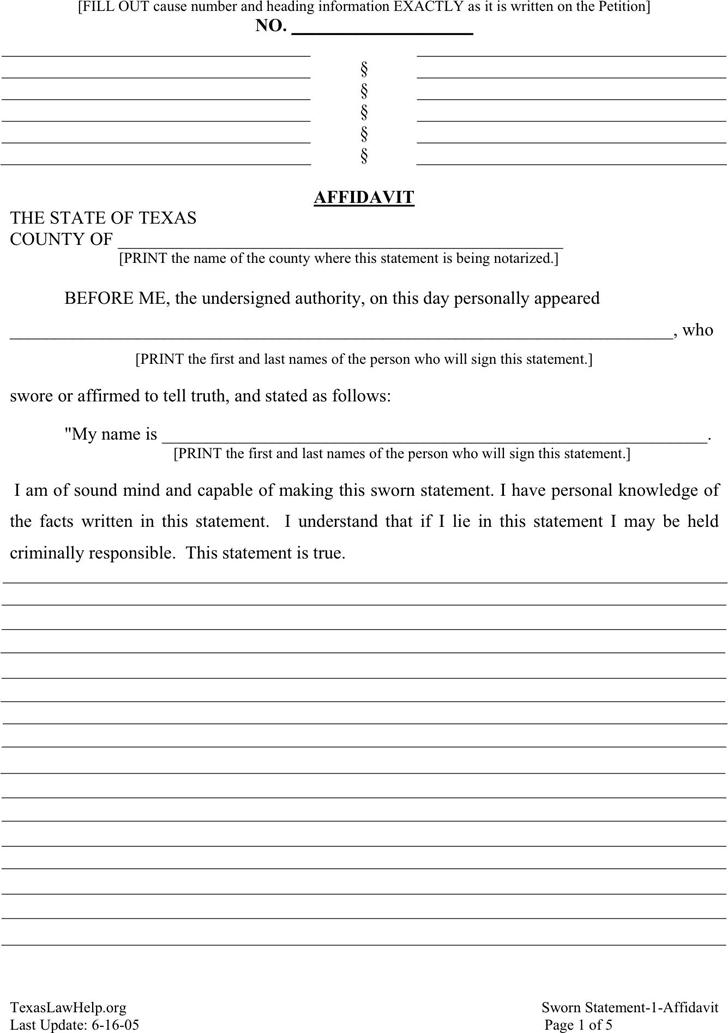 Free Texas General Affidavit - PDF | 204KB | 5 Page(s)