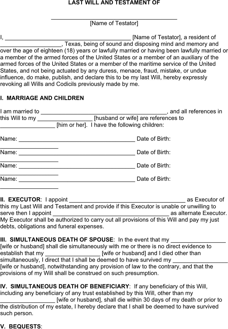 Last will and testament template free template downloadcustomize texas last will and testament template maxwellsz