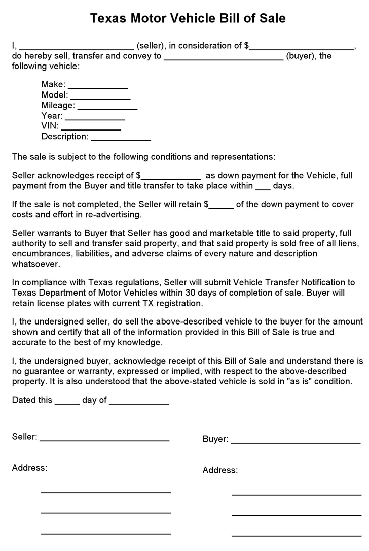 Free Texas Motor Vehicle Bill of Sale Form - PDF | 55KB | 1 Page(s)