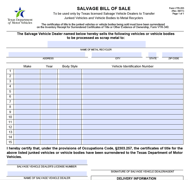 Texas Salvage Bill of Sale Form