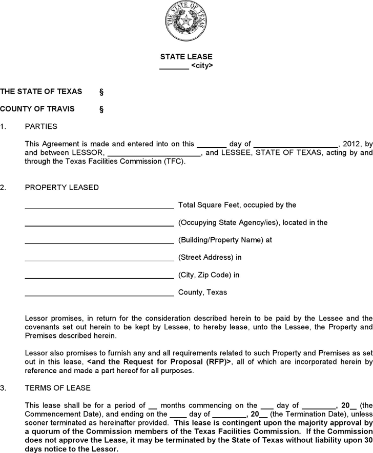 Free Texas Standard State Lease Contract Form Pdf 114kb