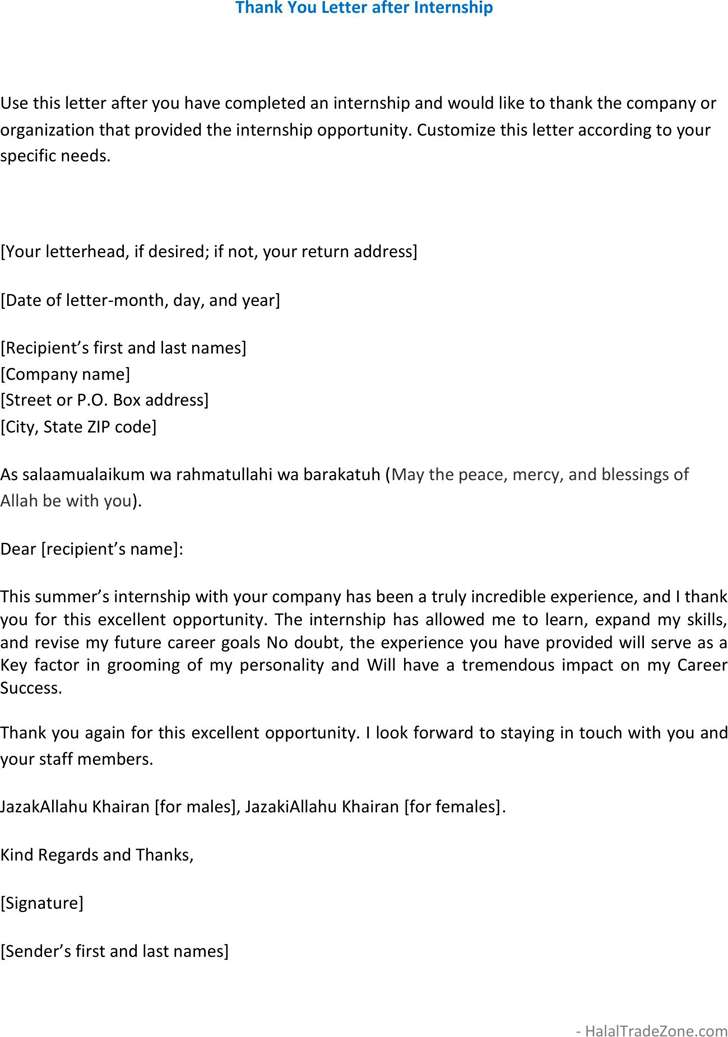 Free thank you letter after internship pdf 261kb 1 pages expocarfo Image collections