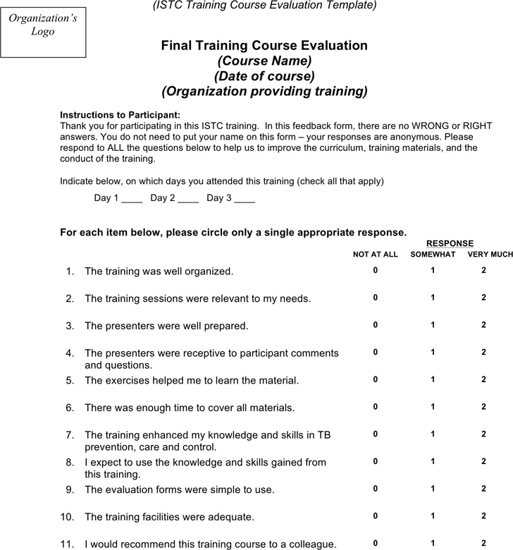 Training Evaluation Form 3