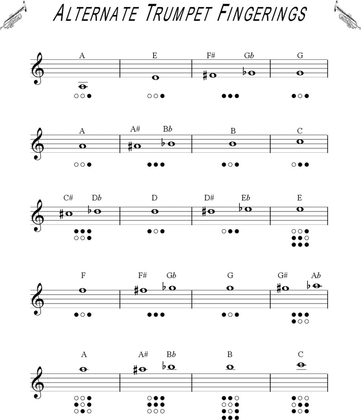 Free Trumpet Fingering Chart - PDF   142KB   2 Page(s)   Page 2