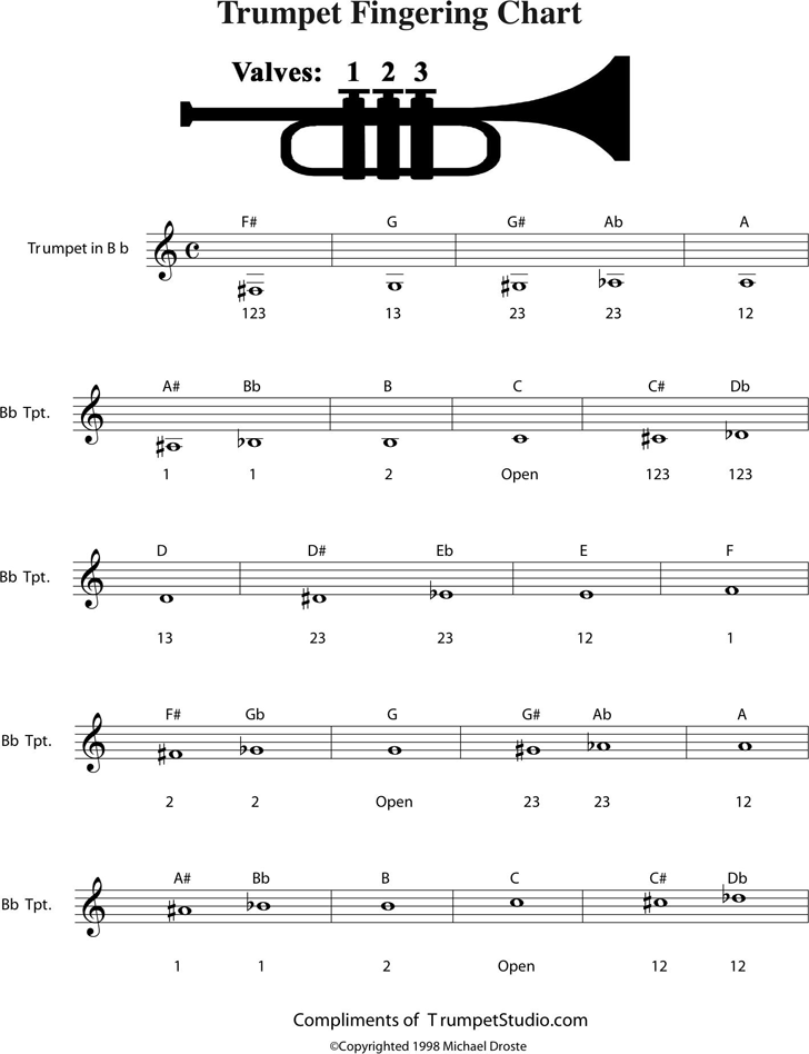 Free Trumpet Fingering Chart - PDF | 260KB | 2 Page(s)