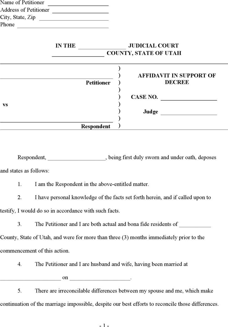 Free Utah Affidavit in Support of Decree - Defendant Form - doc