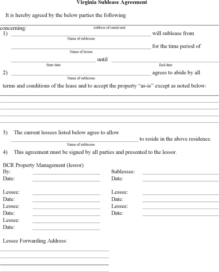 VA Sublease Agreement Form