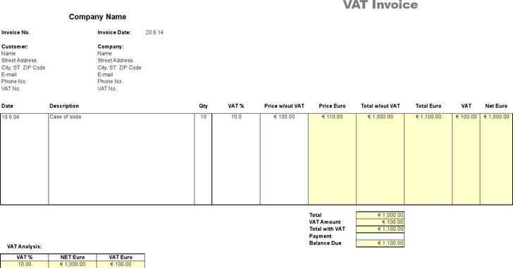 VAT Invoice - Price Excluding Tax