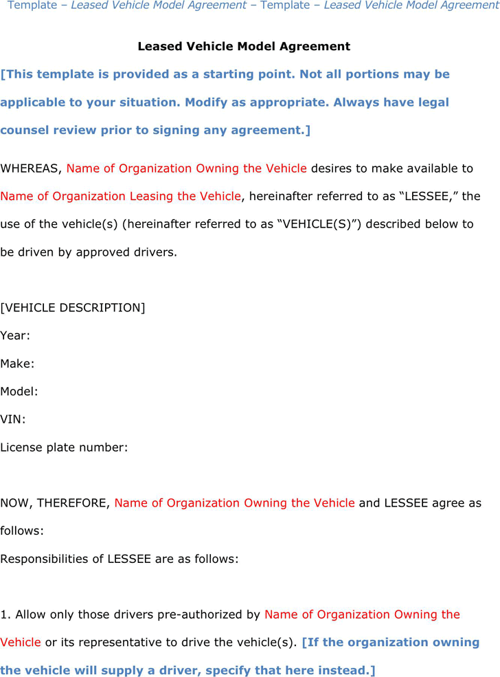 Vehicle Lease Agreement 1  Agreement Template Free