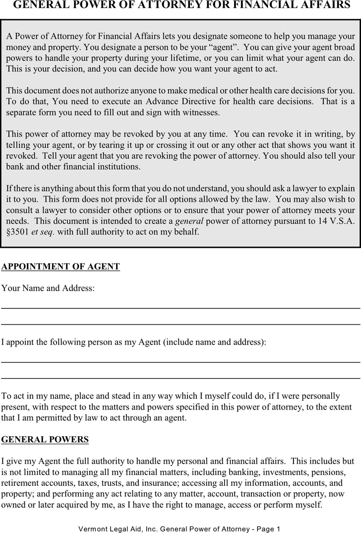 Vermont General Power of Attorney Form For Financial Affairs