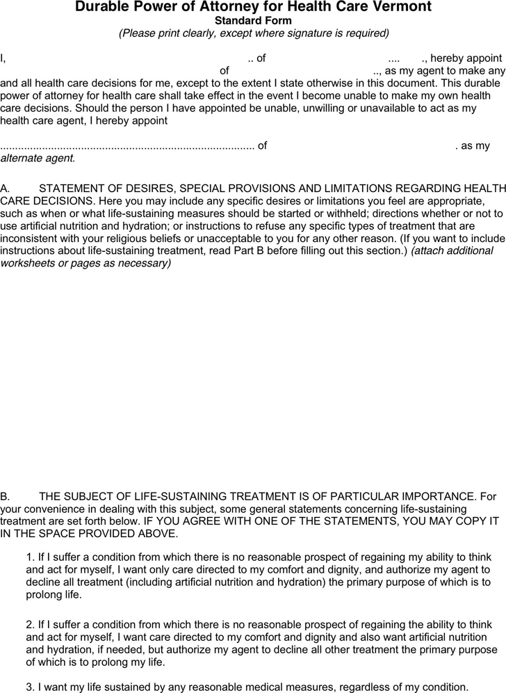 Free Vermont Health Care Power Of Attorney Form Pdf 9kb 2 Pages